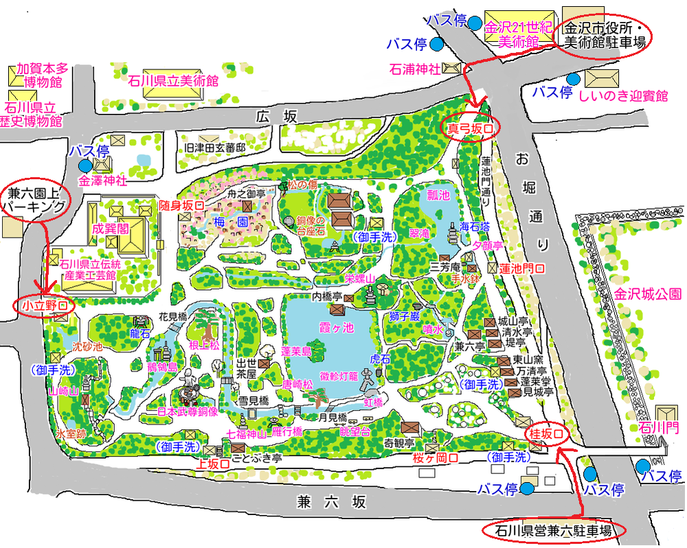 兼六園駐車場マップ