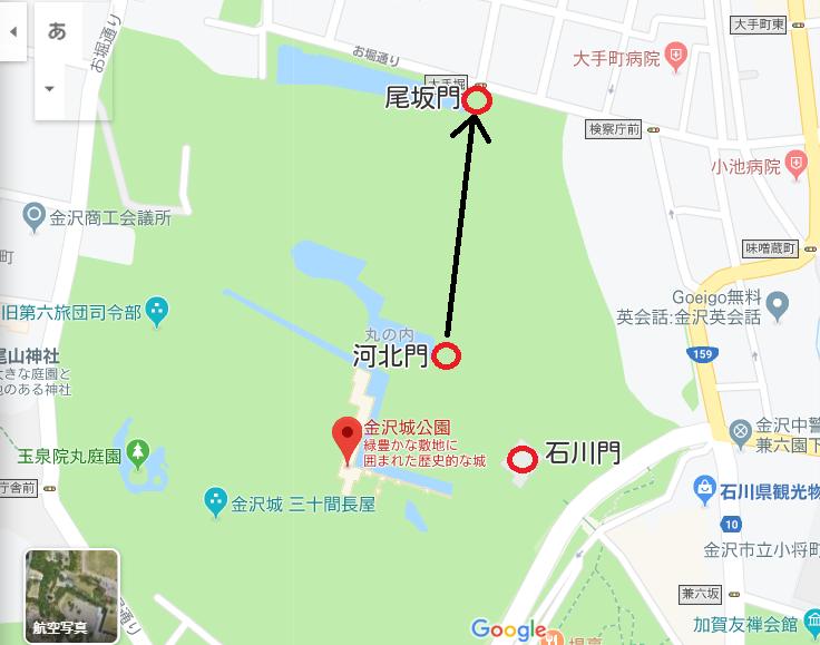 河北門と尾坂門マップ